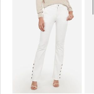 Express High Waisted Boot Cut White Jeans